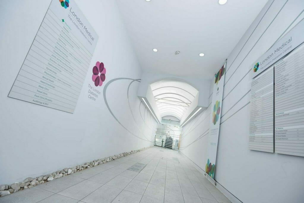 London Medical building hallway